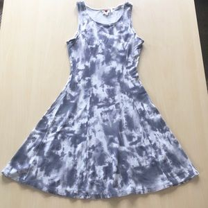 Gray and White Tie Dye Fit and Flare Dress Size Sm